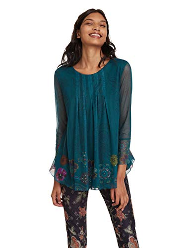 Desigual T-Shirt Luciana Camiseta, (Verde Junco 4045), XL para Mujer
