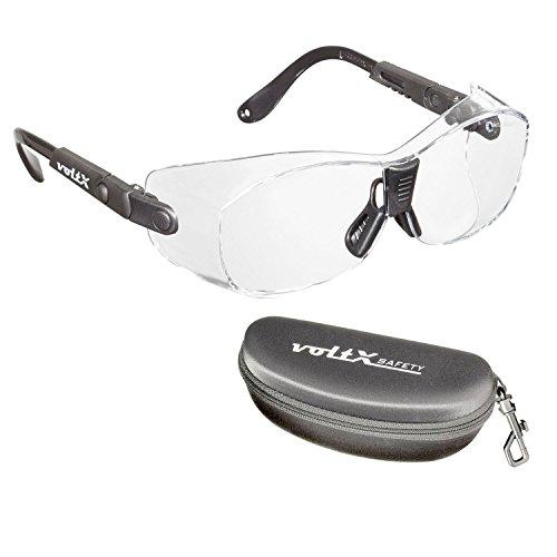 voltX 'RETRO SAFETY OVERGLASSES' mit Hülle - Geeignet als FITOVERS für SMALL/MEDIUM Größe Brillengestelle -Kann auch als regelmäßige Schutzbrille getragen werden. CE EN166ft zertifiziert (Klar Linsen)