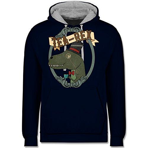 Comic Shirts - Tea-Rex - Kontrast Hoodie Dunkelblau/Grau meliert