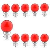 B22 Bajonett Gl¨¹hbirnen - Pack von 10 1,5W LED Girlande Gl¨¹hbirne, Rot Farbige Golfball Energiesparende Gl¨¹hbirne, langes Leben 60.000 Stunden,BC Cap Weihnachtsfeier Gl¨¹hbirnen