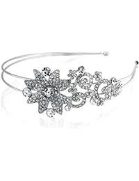 Bling Jewelry Bling Joyería nupcial Flores Rhinestone Crystal chapados en rodio diadema