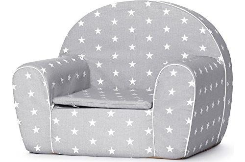 Ladeheid Kindersessel Couch Bettfunktion LATE1001 (Grau/Sterne, 37 x 43 x 53 cm)