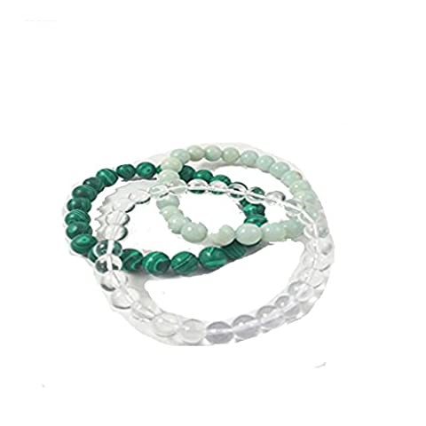 Malachite , Clear Quartz , Amazonite Beads Bracelet Natural Gemstone Original Stone Set Of 3 Bracelet Combo Chakra Balancing Crystal Healing Reiki Healing Stone Free Set Of 3 Lapis Lazuli Pyramid