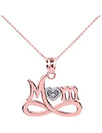 """Little Treasures - 10 ct Rose Gold Infinity """"MOM"""" Heart with Diamond Pendant Necklace"""