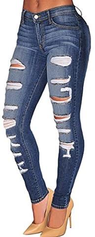 Bestime Womens Blue Denim Destroyed Whisker Wash Skinny Jeans Size M