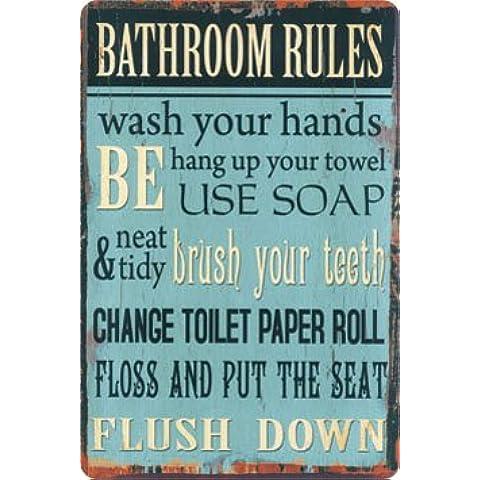 Bathroom Rules targa placca metallo curvo Nuovo 20x30cm VS1903-1