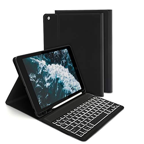 Jelly Comb 7 Couleurs rétro-éclairé Clavier Etui Bluetooth pour iPad 10.2 2019 / iPad Air 3 / iPad Pro 10.5 Clavier Amovible AZERTY Etui Housse Coque de Protection pou IPad 7ème Génération