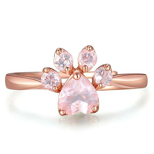 Damen-Ring Sterling Silber Kristall Cat Paw verstellbar Halskette Ohrstecker Armband Rose Gold (Ring)