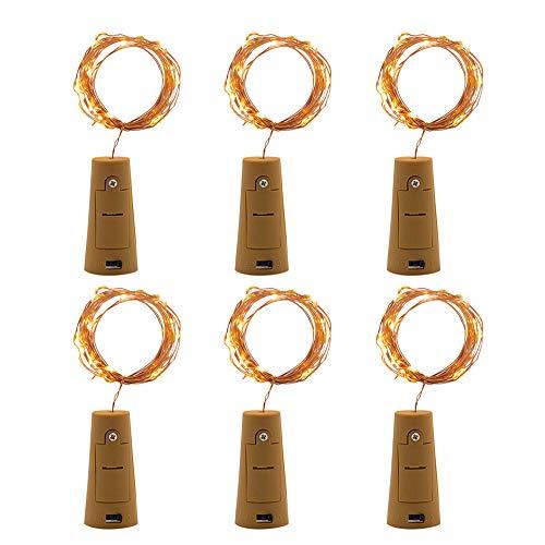 Dicomi 6er 1m 10-LEDs Korkleuchten Korkkupfer Lichter Dekorative Lampe Flexibel für Weinflaschen, Bar, Party, Weihnachten, Dekoration, Innen und Außenbereiche Gelb Gps-licht-bar