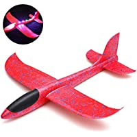 KOBWA Juguete de avión de Espuma, Juguete para lanzar el Modelo de avión con luz LED, Juguete para lanzar a Mano, Modelo de avión para niños y niñas