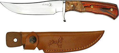 Elk Ridge Couteau d'extérieur Hunter Burl & Manche en Bois et Fourreau de Cuir Longueur Totale cm : 24,13 Pakka, elkr 1032