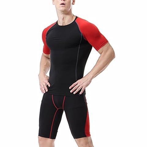 Männer Tight Compression Base Layer Kurzarm Shirt + Shorts Set Schwarz + Rot 2XL