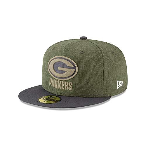 New Era Green Bay Packers On Field 18 Salute to Service Cap 59fifty 5950 Fitted Limited Edition, Green, 7 -