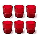 Cartaffini Agile Set 6 Bicchieri Infrangibili, Rosso, 8 cm, 6 Unità