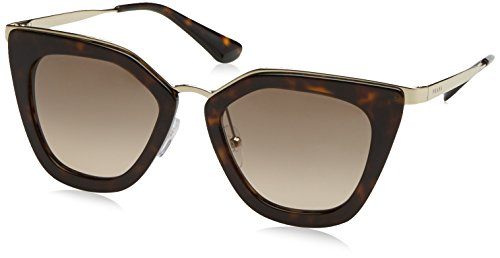 Prada - PRADA CINÉMA EVOLUTION SPR 53SS, Cat eye, metallo, donna, DARK HAVANA/LIGHT BROWN GREY (Pr Metallo)