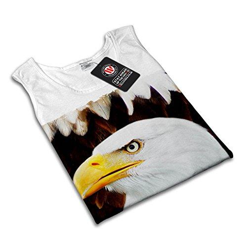 Adler Freiheit Gesicht Tier Wild Vogel Damen S-2XL Muskelshirt   Wellcoda Weiß