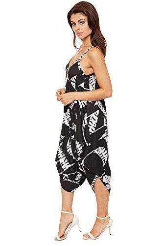 WEARALL - Femmes Lagenlook Combinaison Dames Bouffant Harem Lettre Camaïeu Lacets Robe Haut - 36-44 Noir