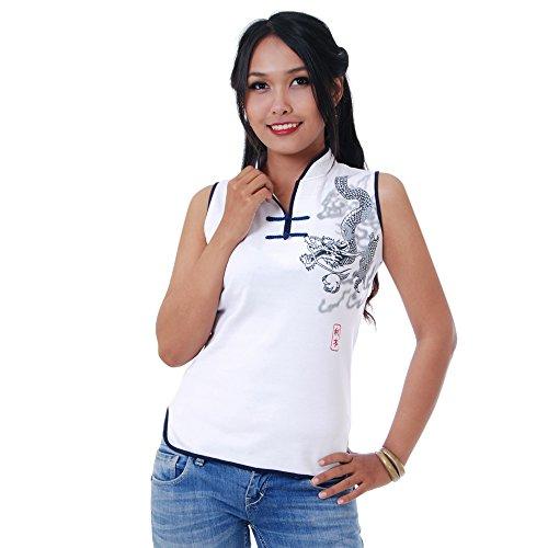 Damen Asia China Yoga,Tai Chi & Meditations Shirt Baumwolle Weiß S