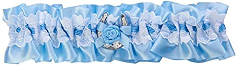 Nortexx Small Blue and White Lace Garter with Lucky Horseshoe/Bow, Blue