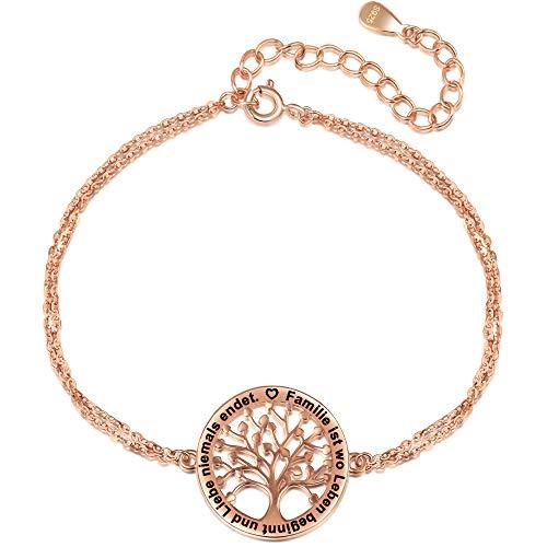 LOVORDS Damen Armband Gravur 925 Sterling Silber Lebensbaum Familie Kreis Mutter Geschenk für Mama Frau oder Tochter