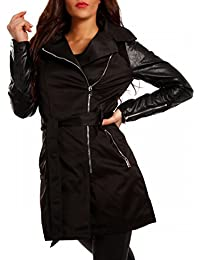 Young-Fashion Women's Trench Plain Long Sleeve Jacket