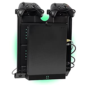 Gameside – Vertikal wandhalterung mit Kühlgebläse, vielfarbig led licht für PS4, Slim und Pro, PS3, Xbox One X, Xbox One S, Xbox 360 | Raum für 2 pads | Schwarz
