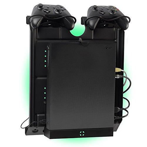 Gameside - Vertikal wandhalterung mit Kühlgebläse, vielfarbig led licht für PS4, Slim und Pro, PS3, Xbox One X, Xbox One S, Xbox 360   Raum für 2 pads   - Schrauben Ps3-controller