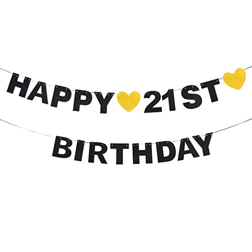 waway Happy 21st Birthday Black Glitter Paper Letter Banner Wimpel Sweet Gold Glitter Heart Cheers to Twenty-one Years Old Bday Fabulous Anniversary Party Event Funny Hanging Ornament Decoration Gift Rosa Rosen Swag