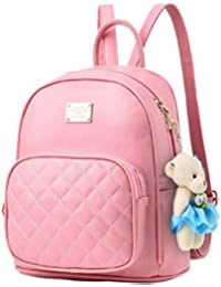 Alice Cute Teddy Baby Pink Mini PU Leather Backpack Fashion Small Daypacks  Purse for Girls and 8b4a128ae1f0b