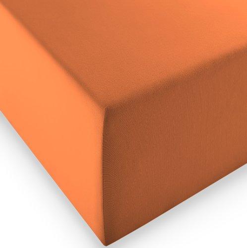 sleepling Komfort Jersey-Elastic Stretch Spannbettuch Spannbettlaken für Matratzen bis 30 cm Höhe (215 gr. / m²) mit 3{88cadd3f5f2891208a6b7eac3d64e47db002be7baa6a4c6327eb8ae3041fde5c} Elastan 180 x 200-200 x 220 cm, orange