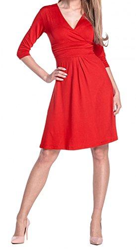 Glamour Empire Donna Abito a Manica 3/4 Estivo Vestito Molto Femminile 282 Rosso