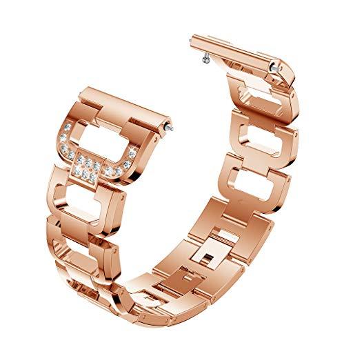TianranRT Mode D Wort Kristall Metall Watch Band Handgelenk Riemen Für Fitbit Versa Lite (Roségold)
