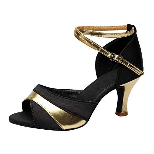 MRULIC Damen Tanzen Rumba Waltz Prom Ballroom Latin Ballett Tanz Singles Höhe Spitze Ferse Sandalen Arbeiten Schuhe(Gold,EU-33/CN-34)