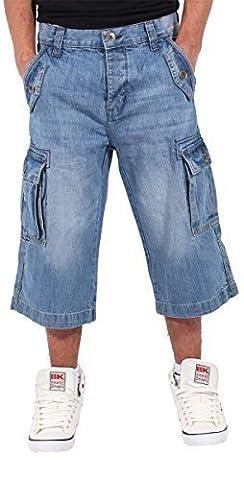 Peviani Hommes Garçons Cargo Combat Baggy Skater Jeans Short En Jeans Hip Hop Est Time Money - Bleu, Homme, Tour de taille 81cm x