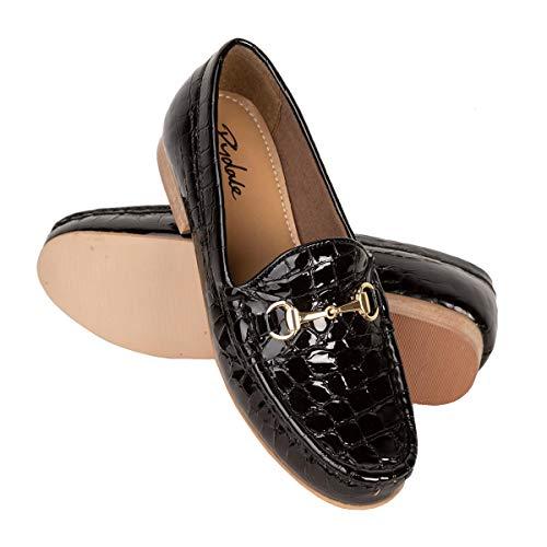 Rydale Damen Slipper Patentschuhe Croc Equestrian Trensensense, Flache Schuhe, Schwarz - Schwarz - Größe: 39 EU -