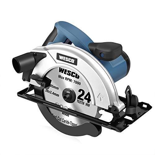 Scie Circulaire 1400W 5800RPM, Adaptateur d'aspiration Démontable, Capacité de Coupe: 65mm (90°),...