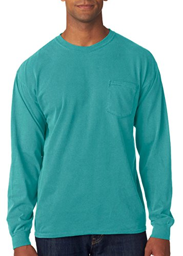 Treask 6.1 Oz. Long-Sleeve Pocket T-Shirt (C4410) 1Seafoam PgmDye