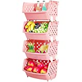House of Quirk Pack of 4 Storage Basket Stacking Baskets Organizer for Fruits, Vegetables, Pantry Items and Toys (Pink)