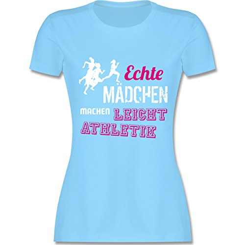 Sonstige Sportarten - Echte Mädchen Machen Leichtathletik - S - Hellblau - L191 - Damen T-Shirt Rundhals