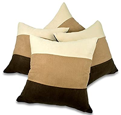 "Set of 4 Brown, Latte & Cream Faux Suede 18"" Cushion Covers - inexpensive UK cushion store."