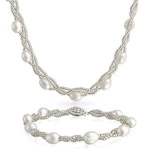Bling Jewelry Argent Sterling Baroque perle Eau douce Collier et bracelet Set