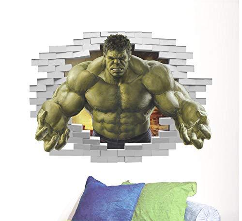 hfwh Wand-Aufkleber Superhelden Comic Avengers Die Unglaubliche Hulk Vinyl Kunst Home Kinder Junge Schlafzimmer Poster Thor Kinderzimmer Dekor Aufkleber 50x70cm (Die Avengers Superhelden)
