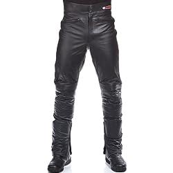Kenrod KR-LT01 Caballero - Pantalones de piel motociclismo, color negro, talla XXXXL