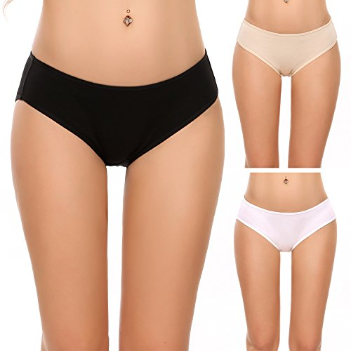 Ekouaer 3er Pack Damen Pantys Unterwäsche Hot Pants Dessous Hipster Boxershorts mit Karo Spitze Schleife, farbe: Schwarz, Gr. EU 38 (Herstellergröße: M) (Unterwäsche Thong Panties)