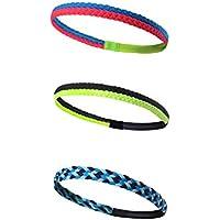 HYSENM Stirnband 3 Stück Unisex Bunt Geflochten luftdurchlässig hochelastisch Schweißband Kopfband für Outdoor Sport Fitness Headband