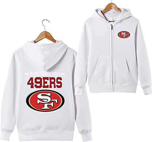ZXTXGG Männer 3D Hoodies San Francisco 49ers SF NFL Football Team Uniform Muster Digitaldruck Strickjacke Reißverschluss Liebhaber Kapuzenpullis(XXXL,Weiß)