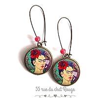Orecchini cabochon, Frida Kahlo, messico, ritratto donna, verde rosso porpora, boho chic, boho, zingara