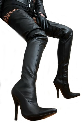 EROGANCE Leder Optik High Heels Crotch Overknee Stiefel A3623L / EU 36-46 Black