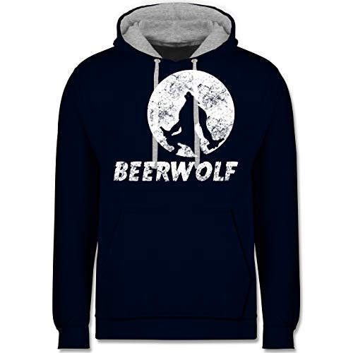 Statement Shirts - Beerwolf - XS - Navy Blau/Grau meliert - JH003 - Kontrast Hoodie