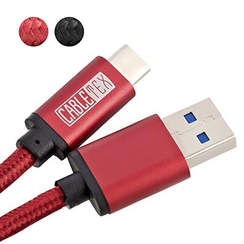 USB C Kabel auf USB 3.1 Typ A I 1,5 m Ladekabel Nylon Datenkabel für USB 3.0 Computer und Smartphones wie Huawei Mate 10 Pro, Samsung Galaxy S8, S8+, OnePlus 5T, HTC 10, MacBook Pro und mehr - ROT